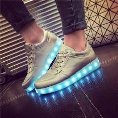 Usb unisex LED Luz de encaje hasta zapatos de los pares de zapatillas de deportes de los luminosos zapatos casuales