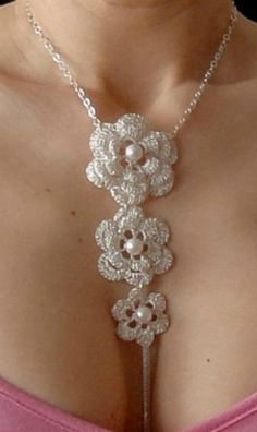 Crochet Silver Necklace  gorgeous I love this and will make it during my vacation a lovely thing to do and bring back..... relaxing. EdithSellsHomes@gmail.com