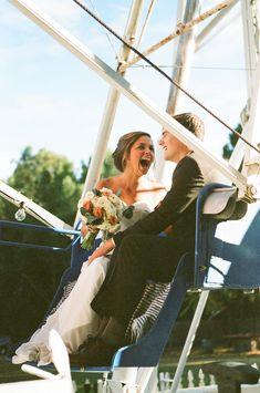 newlyweds on a ferris wheel, photo by Christianne Taylor http://ruffledblog.com/sophisticated-calamigos-ranch-wedding #wedding #carnival