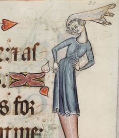 Lovely decorations on the dress.  Fol 35r. The Luttrell Psalter. 1325-1340. Lincolnshire, England.