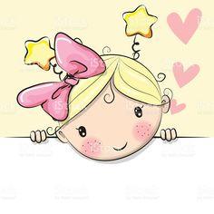 Cute Cartoon Girl with hearts vetor e ilustração royalty-free royalty-free
