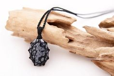Pin to save the next gift for yourself!      Snowflake Obsidian jewelry, Stone necklace pendant for men, Zen gifts for him, Capricorn stone jewelry, Snow flake obsidian pendant, Macrame    Beautiful handmade Macrame Snowflake Obsidian pendant necklace with an adjustable black necklace cord.       This creation is a one of a kind Unisex piece that can fit any occasion.     (..*♥FREE INTERNATIONAL SHIPPING♥*¨)