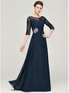 A-Line/Princess Scoop Neck Floor-Length Chiffon Lace Mother of the Bride Dress With Ruffle Beading Sequins Mother Of The Bride Dresses Long, Mothers Dresses, Mob Dresses, Fashion Dresses, Vestidos Mob, Concert Dresses, Ruffle Beading, Bride Groom Dress, Wedding Party Dresses
