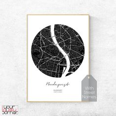 Budapest Map Print, Budapest City, Black And White Modern Printable Wall Art, Scandinavian Style Street Map Poster, Minimalist Nordic Decor