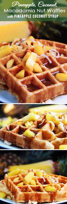 Pineapple, coconut and macadamia nuts sprinkled throughout coconut waffles batter with Pineapple Coconut Syrup - EVERY BIT AS DELICIOUS AS IT SOUNDS! | Carlsbad Cravings