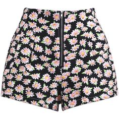 Black High Waist Zipper Floral Shorts ($21) ❤ liked on Polyvore featuring shorts, bottoms, pants, short, flower print shorts, high-waisted shorts, high waisted short shorts, floral print shorts and short shorts