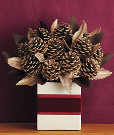 Pinecone bouquet with fabric leaves - Ribbon around box could be any coordinating color.