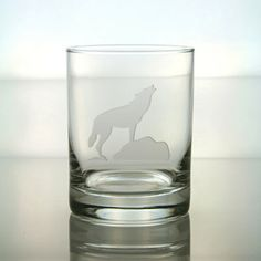 Wolf Design Etched Sand Blasted Glass by GlassIslandDesigns, $17.00