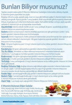 "Yapılan araştırmalara göre özellikle ""E Vitamini"" Alzheimer riskini azaltıyor ve… Natural Medicine, Natural Cures, Beauty Secrets, Health And Beauty, Herbalife, Anti Aging, The Cure, Health Fitness, Healthy"