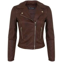 Miss Selfridge Brown Faux Leather Biker Jacket (785 MXN) ❤ liked on Polyvore featuring outerwear, jackets, leather jacket, tops, mid brown, vegan motorcycle jacket, biker jacket, stitch jacket, faux-leather moto jackets and vegan leather moto jacket