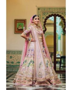 Bridal Lehenga Colour Palettes and What They Represent Pink Bridal Lehenga, Designer Bridal Lehenga, Pink Lehenga, Indian Bridal Lehenga, Indian Bridal Outfits, Net Lehenga, Lehenga Choli, Sarees, Summer Wedding Outfits