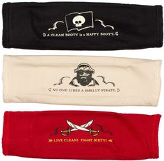 PIRATE WASHCLOTH SET Set sail for a bath time adventure! This set includes 3 cotton terry washcloths perfect for scrubbin' yer booty! Each features a kitschy pirate saying. $24.00
