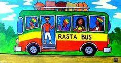 Hop on the rasta bus and shake yuh dread locks! Bus Art, Rasta Man, Love Is My Religion, Unity In Diversity, Like A Lion, Dance Hall, Bob Marley, Reggae, Dreadlocks