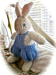 Hand Knit and Embroidered Mohair Bunny Doll by rabbitwhiskers