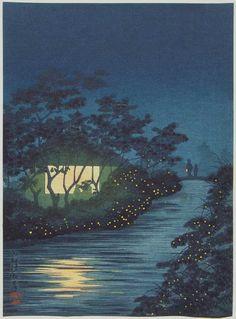 Fireflies at Kinu River, Tennoji (woodblock print) - Kiyochika Kobayashi (1847-1915)