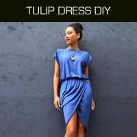 Free tutorial for sewing a designer inspired tulip or wrap dress. Perfect fall or winter fashion. No pattern required.
