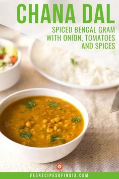 Chana dal is a traditional split chickpea recipe from Northern India. This simple vegan chana dal recipe includes an amazing curry and can also be made gluten free by omitting asafoetida in the spice blend. Vegan Chickpea Recipes, Lentil Recipes, Curry Recipes, Vegan Recipes Easy, Vegetarian Recipes, Amazing Recipes, Veggie Recipes, Vegan Food, Free Recipes