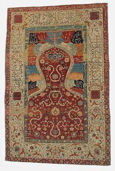 Persian rug, silk, wool, metal wrapped thread, 16th c