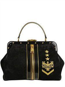 Versace - Tribeca Embroidered Suede Top Handle Bag   FashionJug.com