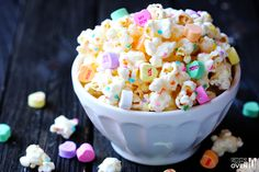 Valentines Popcorn White Chocolate With Sprinkles And Conversation Heart Candy