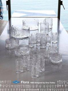 Flora glassware designed by Oiva Toikka, 1966 Glass Room, Glass Art, Flora Design, Vintage Pottery, Glass Collection, Vintage Glassware, Glass Design, Scandinavian Design, Mid-century Modern