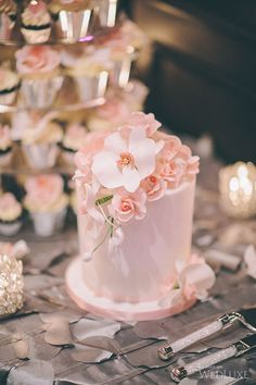 Delicate Single Tier Pale Pink Floral Cake
