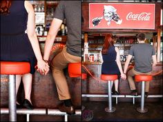 Sweet photo pose set in an old school diner. Check out this Fifties Style Diner Engagement Shoot   | Confetti Daydreams