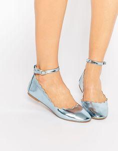 Metallic Blue Scalloped Edge Ballerina