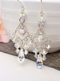 Etsy :: Your place to buy and sell all things handmade - Crystal chandelier earrings, long clear crystal drop earrings, swarovski crystal wedding earrings, - Crystal Jewelry, Beaded Jewelry, Handmade Jewelry, Anklet Jewelry, Diy Crystal Earrings, Wire Jewelry, Jewelry Shop, Jewellery Diy, Luxury Jewelry