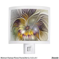 Abstract Fantasy Flower Fractal Art Night Light