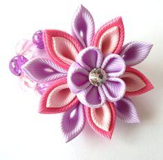 Flores de tela Kanzashi. Conjunto de 4 piezas. Color de rosa