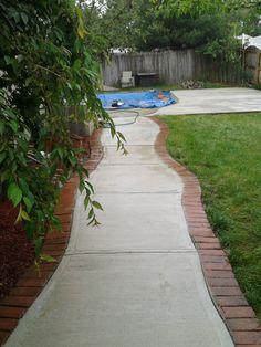 Concrete Walkway to Pool Flagstone Paving, Flagstone Pathway, Stepping Stone Walkways, Gravel Walkway, Backyard Walkway, Brick Pathway, Front Walkway, Pool Landscaping, Walkway Ideas