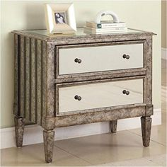 Powell Antique Silver and Black Crackle 2Drawer Mirrored Console *** See this great product.Note:It is affiliate link to Amazon.