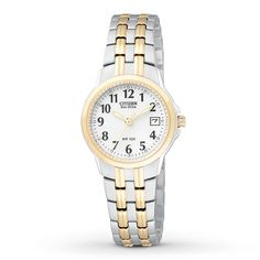 Citizen Eco-Drive Women's Silver-Tone Watch with White Dial. This Eco-Drive watch is powered by light, and features a stainless steel case with white accented dial. Has and date with mineral crystal. Stainless Steel Watch, Stainless Steel Bracelet, Citizen Eco Drive Ladies, Sport Watches, Citizen Watches, Watch Sale, Jewelry Stores, Bracelet Watch, Accessories
