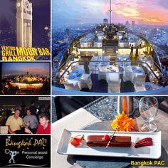 Vertigo Grill & Moon Bar - open air - 360 degree view - 61 flrs up in Silom Rooftops, Vertigo, Bangkok Thailand, Grilling, Moon, Bar, Table Decorations, The Moon, Crickets