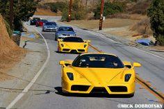 Best Hypercar Lineup Ever! (Yellow Ferrari Enzo (2), Carrera GT(2), Mercedes CLK-DTM, Mclaren, & Lamborghini)