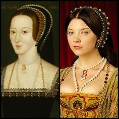 "Anne Boleyn, Henry VIII's second wife, wearing her iconic ""B"" necklace. The necklace -- and Anne's whole look -- was recreated for the TV miniseries ""The Tudors."""