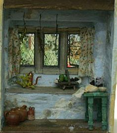 nataliegayleminiatures: Making a shallow room box Victorian Dollhouse, Dollhouse Dolls, Dollhouse Miniatures, Miniature Plants, Miniature Kitchen, Miniature Rooms, Cottage Windows, Mini Things, Small Things