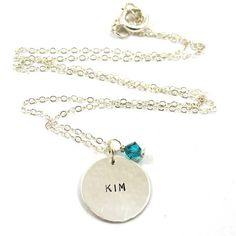 Personalized Necklace with Birthstone  one name  by SariGlassman, $36.00