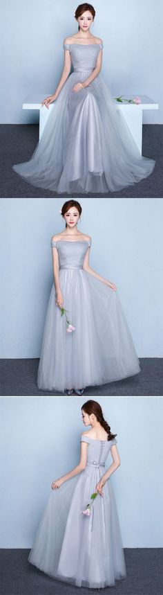 gray tulle long prom dress, cute evening dress, formal dress