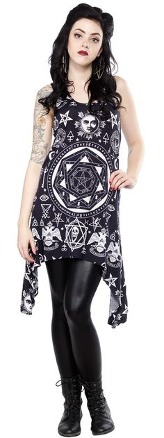KILLSTAR OCCULT RACERBACK DRESS This dress from Killstar features an all over bandana like occult print and can be worn as a tunic or a dress. Featuring drop sides, for a flattering drape, this tank style dress looks great layered with many other pieces. $70.00 #killstar #dress #occult