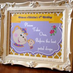 Beauty and the Beast/ Belle Birthday Party Sign 8x10 on Etsy, $4.00