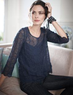 dark blue sheer blouse