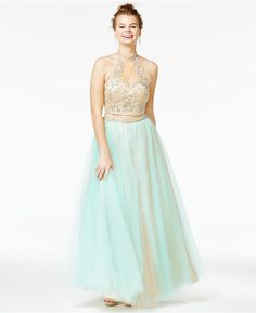 Say Yes to the Prom Juniors' 2-Pc. Embellished Ball Gown, A Macy's Exclusive