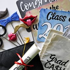 Photo Prop Pack - Graduation Party in a Box - Class of 2019 - Set of 13 colorful photo booth props Diy Photo Booth, Class Of 2018, Graduation Photos, Party Props, Box, Tableware, Handmade, Senior Pics, Snare Drum