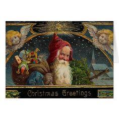 Victorian Christmas Santa Greeting Card