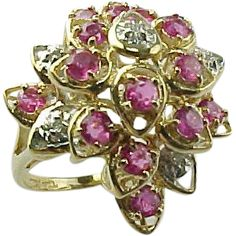 Vintage Ruby And Diamond Waterfall Ring 10 K Yellow Gold