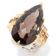 143-274- Gems en Vogue 23.61ctw Smoky Quartz & Madeira Citrine Elongated Ring