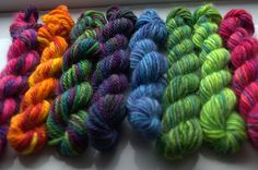 Small mini skeins of hand dyed British yarns now available on Ovis Yarns