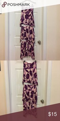 Gabriella Richard Purple Print Maxi 👗 Cute and fun 👗, the dress has layer of three tiers check the 3rd pic for details. No size indication but it fits like a XS. Worn twice, great condition, no flaws to my understanding. The whole length of the dress is 45 in, very short. Gabriella Rocha Dresses Maxi